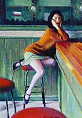 Mujer sentada en bar
