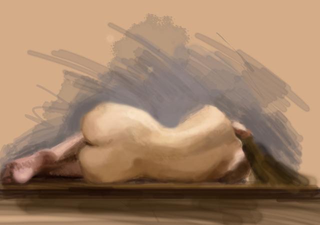 mujer tumbada, acuarela digital