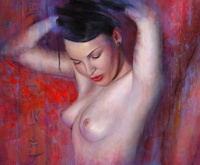 Desnudo oriental en rojo
