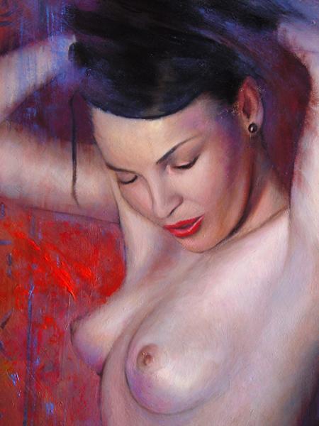 Desnudo oriental en rojo (detalle)
